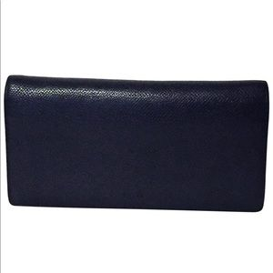 Bally black and red leather bifold long wallet